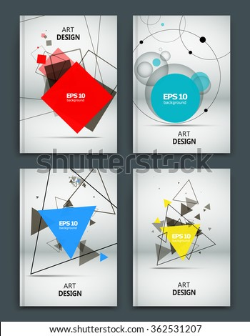 Abstract composition, business card set, correspondence collection, white a4 brochure title sheet, creative figure, logo sign, firm banner form, transparent contour, flier fashion, EPS10 illustration - stock vector
