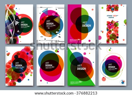 Abstract composition, business card set, financial infographic text, geometric shape font texture, a4 brochure title sheet, creative round figure icon, circle logo sign, flyer fiber, EPS10 banner form - stock vector