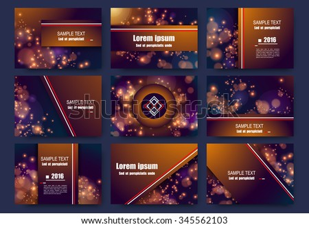 Abstract composition, business card set, frame backdrop, luster sheen, shiny dots flare, Christmas cracker, visual sun bubble flash, bronze circle radiance icon, glow figure, glory EPS10 illustration - stock vector