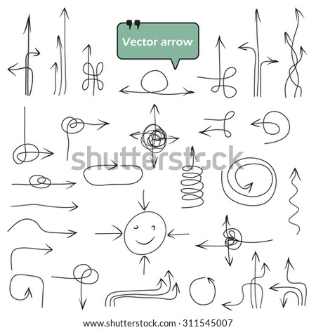 Abstract composition, collection of many funny arrow icons, sketchy direction symbol set, sideways guide objects, orientation shape, web design elements, navigation cursor, EPS 10 vector illustration - stock vector