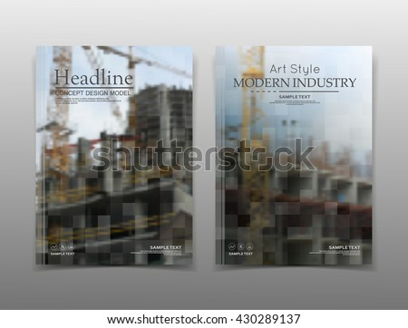 Abstract composition. Colored editable image texture. Cover set construction. Urban city view banner form. A4 brochure title sheet. Creative flat block figure icon. Building surface. Flyer text font. - stock vector