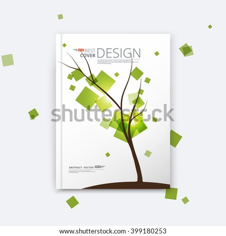 Abstract composition, elegant tree branch, square green leaf, spring leaves fly, business card, info brochure title sheet, plant print, font texture, seasonal sale discount event, fancy flier, EPS 10 - stock vector