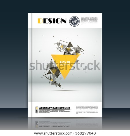 Abstract composition, font texture, yellow, black triangle part construction, white a4 brochure title sheet, creative figure icon, logo sign surface, firm banner form, flier fiber, EPS10 vector art - stock vector