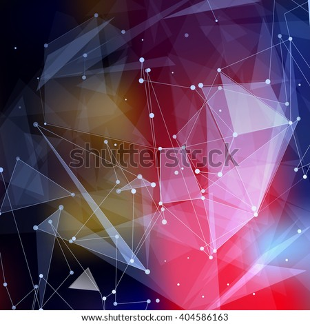 Abstract composition. Futuristic technology font texture. White cybernetic dots. Creative banner figure. Wallpaper. Label. Outer space flyer fiber. Neon star light matrix. EPS10 backdrop. Vector art. - stock vector