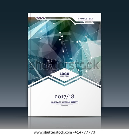 Abstract composition. Green texture. Triangle part construction. White cybernetic dots. Lines plexus. A4 brochure title sheet. Creative figure icon. Crystal facets surface. Banner form, flyer font - stock vector