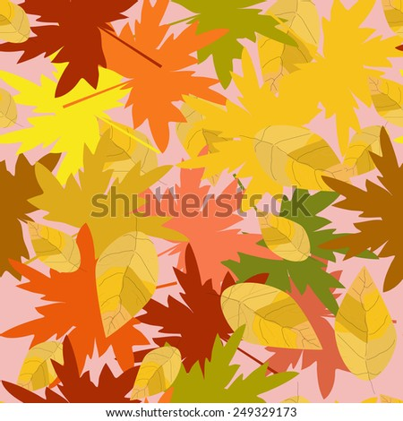Abstract composition of autumn leaves. Seamless. - stock vector
