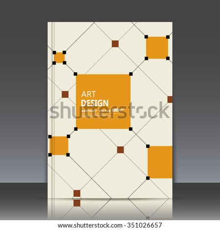 Abstract composition, orange square construction icon, light a4 brochure title sheet, display wallpaper theme, sign texture surface, business backdrop, math figure sequence, fiber, EPS10 illustration - stock vector