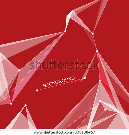 Abstract composition, scarlet polygonal space ornament, vermilion screen saver, incarnadine display background pattern, EPS 10 vector illustration - stock vector
