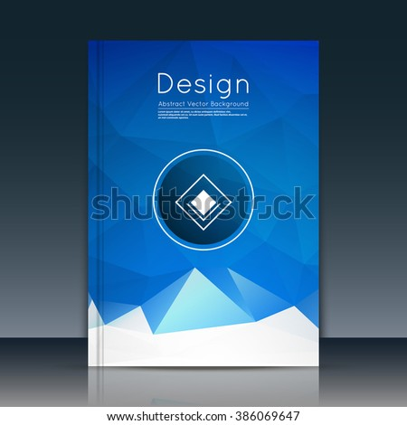 Abstract composition, text frame surface, blue a4 brochure title sheet, creative figure, white logo sign icon, trademark symbol design, firm name emblem, banner form, flier fashion, EPS10 vector image - stock vector