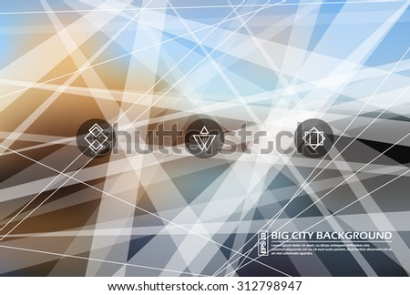 Abstract composition, urban city tangled background, plexus line cross theme, logo construction set, company sign panel, trade symbol, EPS 10 vector illustration - stock vector
