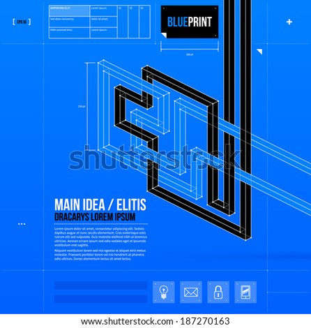 Abstract composition with crossing 3d lines in blueprint style. EPS10 - stock vector