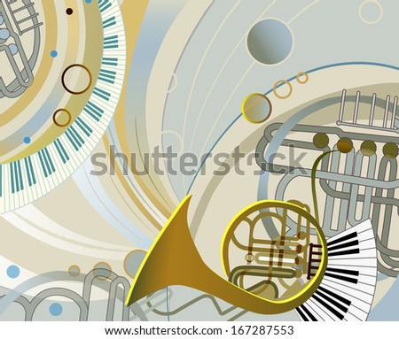 abstract composition with musical instruments - stock vector