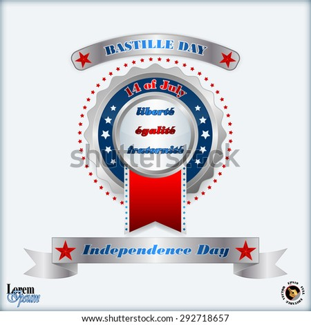 Abstract computer graphic design;14th July Bastille Day of France; Holidays layout template with metallic badge and national flag colors background for fourteenth July, France Independence Day - stock vector