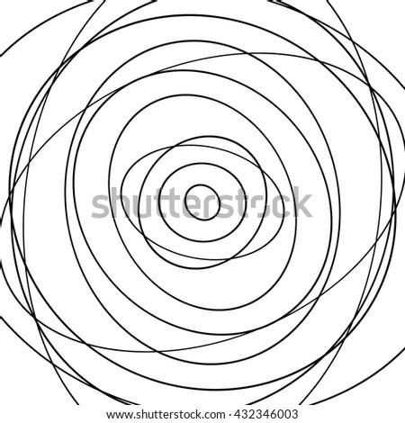 Abstract concentric circles pattern - Irregular, random circles. - stock vector