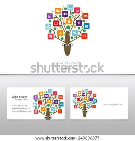 Abstract concept creative vector tree logo tree with colorful application infographics icon. Art illustration creative template design, Business software and social media symbol. - stock vector