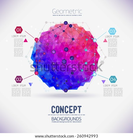 Abstract concept geometric lattice, the scope of molecules, molecules in the hexagon. Round composition of the molecular lattice with geometrical figure. Color composition vector for your design. - stock vector