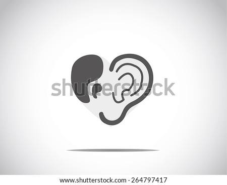 abstract concept illustration of hearing aid illustration with ear and quotes arranged in the shape of a heart or love - stock vector