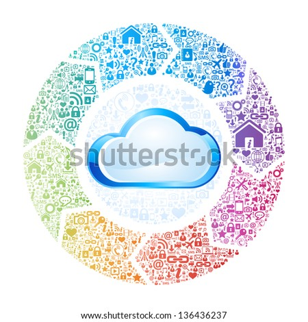 Abstract concept of cloud computing - stock vector