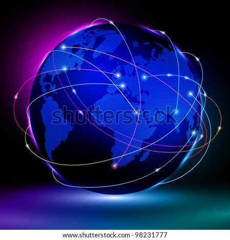 Abstract concept of global net communication - stock vector