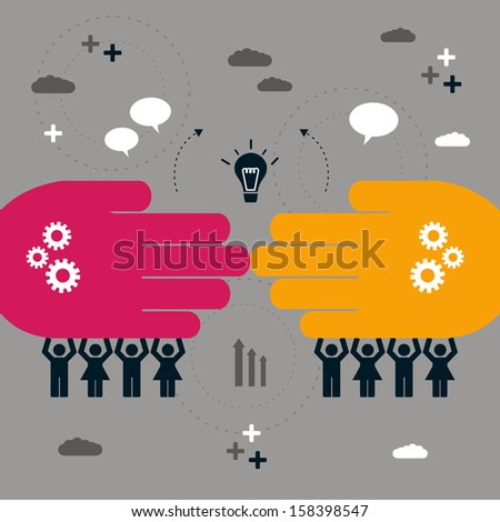 abstract concept of teamwork and connection - stock vector