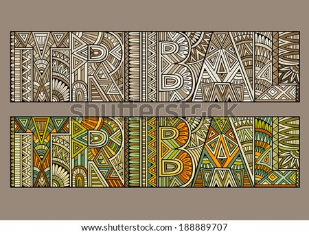 """Abstract concept typography """"tribal"""" with geometric aztec pattern - stock vector"""