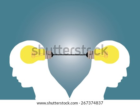 Abstract conceptual image of business human brain share idea together for creative template with space as background - stock vector