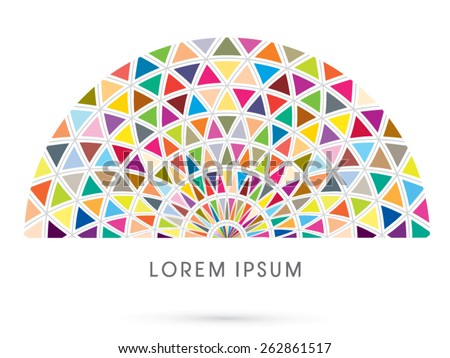 Abstract construction, architecture, building ,designed using colorful  triangle geometric shape ,logo, symbol, icon, graphic, vector. - stock vector