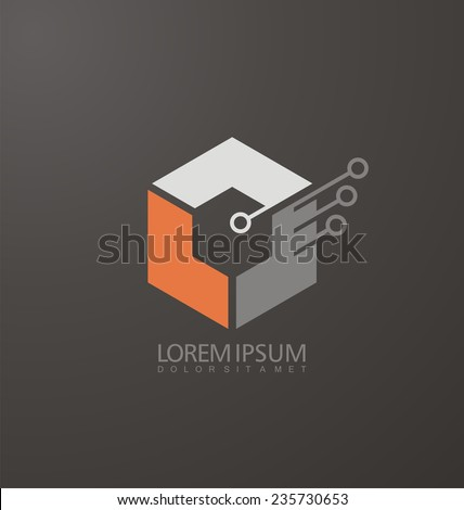 Abstract Construction vector logo design template. Corporate company identity. Unique technology and electronics symbol. Cube icon. Start up business concept. - stock vector