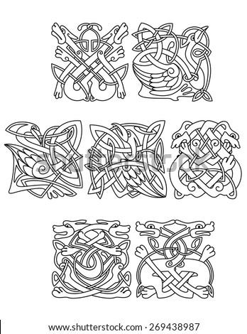 Abstract contoured animals and birds in traditional celtic knot style decorated tribal geometric ornament suitable for totem medieval styled embellishment  design - stock vector