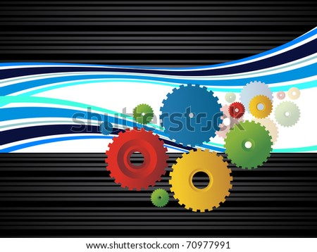 abstract corporate background with colorful cogwheel, vector illustration - stock vector