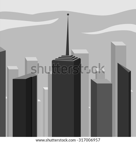 Abstract corporate city skyscraper. Contemporary town, black and white - stock vector