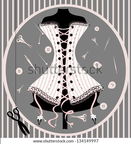 abstract craft dummy in a pink corset - stock vector