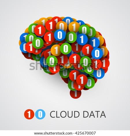 Abstract creative concept of digital or computer brain. Vector illustration - stock vector