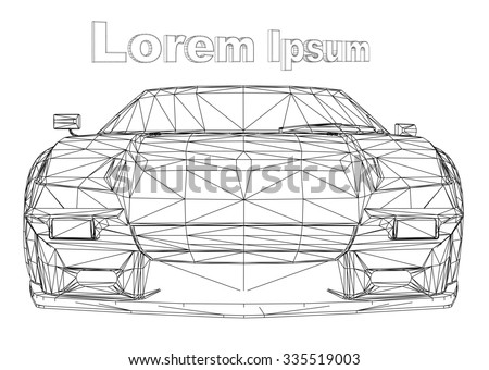 Abstract Creative concept vector background of 3d car model. Sports car. Powerful racing car. Ring race. Fast sports coupe. Illustration of the lines. Polygonal model. Wheels on forged discs. - stock vector