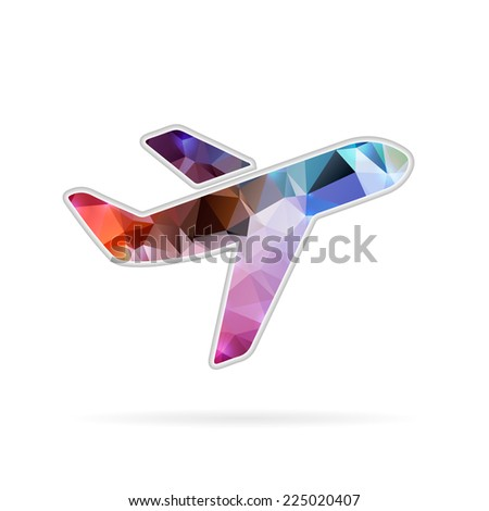 Abstract creative concept vector icon of airplane. For web and mobile content isolated on background, unusual template design, flat silhouette object and social media image, triangle art origami. - stock vector