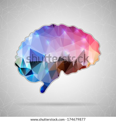 Abstract Creative concept vector icon of Brain for Web and Mobile Applications isolated on background. Vector illustration template design, Business infographic and social media, origami icons. - stock vector