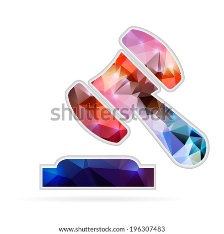 Abstract Creative concept vector icon of gavel for Web and Mobile Applications isolated on background. Vector illustration template design, Business infographic and social media, origami icons. - stock vector