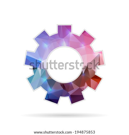 Abstract Creative concept vector icon of gear wheel for Web and Mobile Applications isolated on background. Vector illustration template design, Business infographic and social media, origami icons. - stock vector