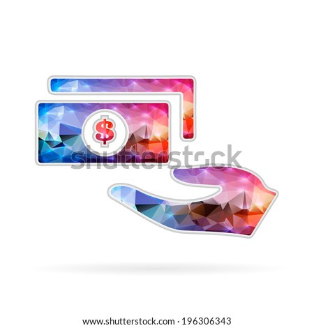 Abstract Creative concept vector icon of hand with money - stock vector