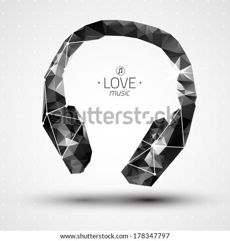Abstract Creative concept vector icon of headphone for Web and Mobile Applications isolated on background. Vector illustration template design, Business infographic and social media, origami icons. - stock vector