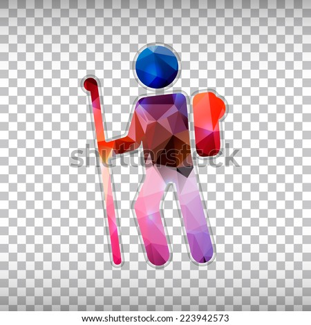 Abstract Creative concept vector icon of hiker for Web and Mobile Applications isolated on background. Vector illustration template design, Business infographic and social media, origami icons. - stock vector