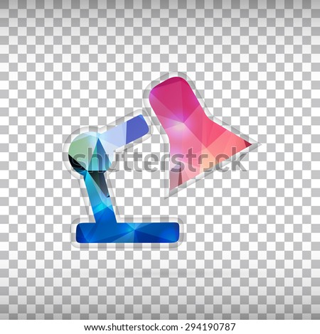 Abstract creative concept vector icon of lamp. For web and mobile content isolated on background, unusual template design, flat silhouette object and social media image, triangle art origami. - stock vector