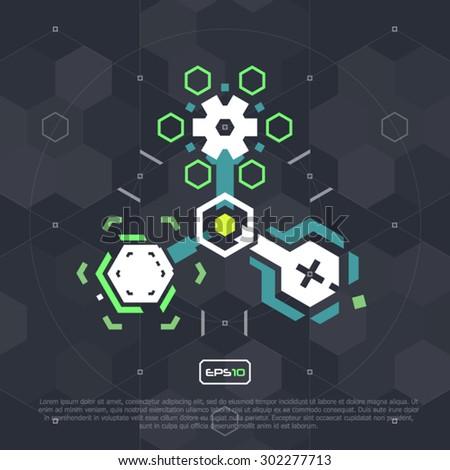 Abstract creative concept vector icon of molecule - stock vector