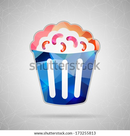 Abstract Creative concept vector icon of popcorn for Web and Mobile Applications isolated on background. Vector illustration template design, Business infographic and social media, origami icons. - stock vector