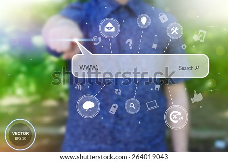 Abstract creative concept vector image of man touching future technology social network button. Digital touch screen of icon for web, mobile application, iIllustration template, business infographic - stock vector