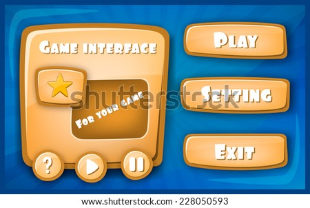 Abstract Creative concept vector Interface game design (resource bar and resource icons for games). Funny cartoon design ui game control panel including text and buttons. - stock vector