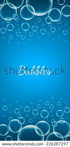 Abstract Creative concept vector shiny transparent bubbles for Web and Mobile Applications isolated on blue background, aqua art illustration template design, business infographic and social media. - stock vector