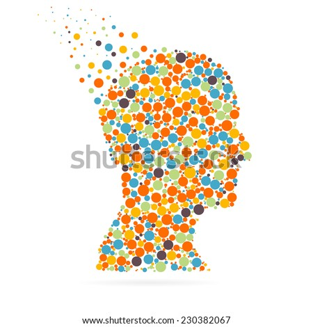 Abstract creative concept vector silhouette head for Web and Mobile Applications isolated on white background. Vector illustration, creative template design, Business software and social media. - stock vector