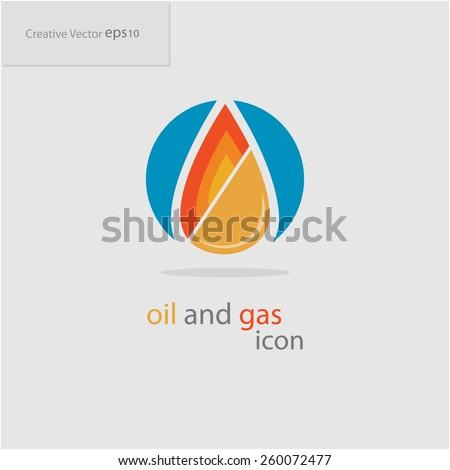 Abstract creative oil and gas icon, eps10 Vector - stock vector