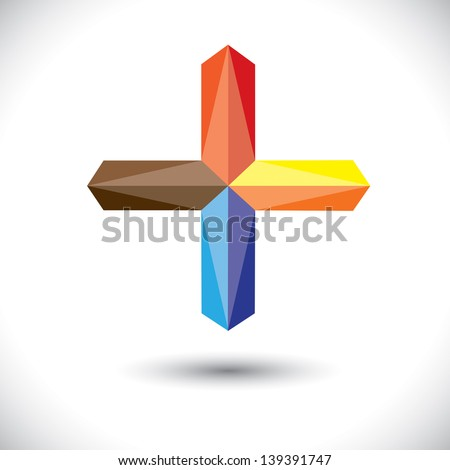 Abstract creative plus icon ( positive sign )- vector graphic. The illustration represents a positivity symbol with vivid and vibrant red, blue, orange colors - stock vector